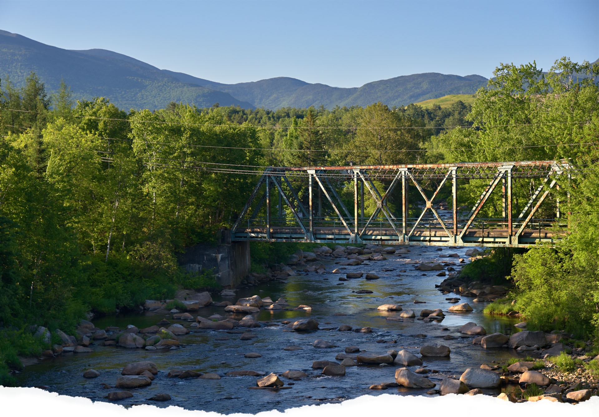 Picture of Pierce Bridge over running water in Bethlehem New Hampshire